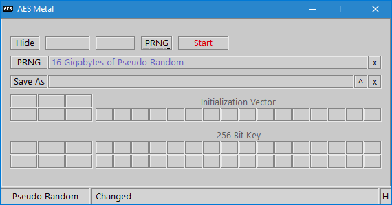 AES Metal PRNG Size Filename