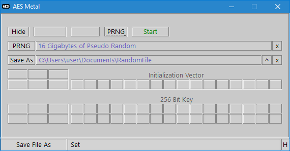 AES Metal PRNG Filenames
